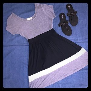 Gray and black a-line sundress